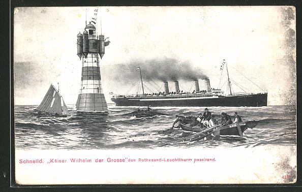 AK Passagierschiff Kaiser Wilhelm der Grosse passiert den Leuchtturm Roter Sand