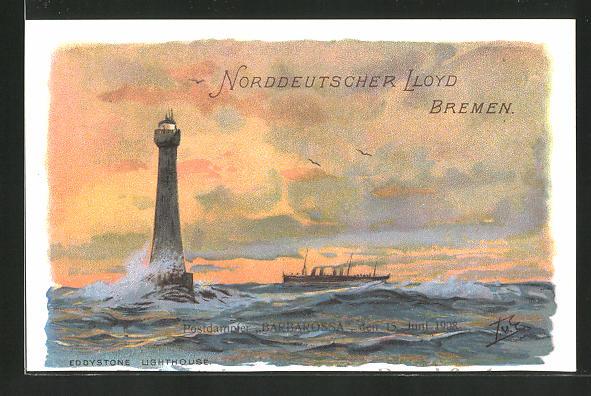 Künstler-AK Passagierschiff Barbarossa passiert den Leuchtturm Eddystone