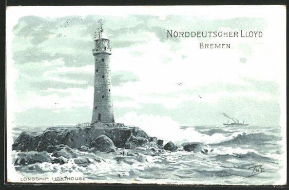 AK Leuchtturm Longship Lighthouse trotzt der stürmischen See