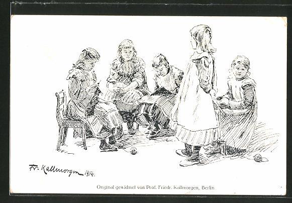 Künstler-AK Friedrich Kallmorgen: fünf Mädchen