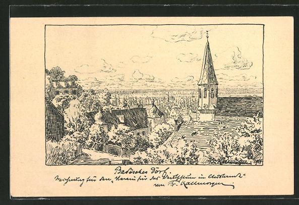 Künstler-AK Friedrich Kallmorgen: Badisches Dorf, Motiv mit Kirchturm