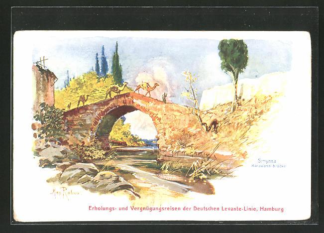 Künstler-AK Max Rabes: Smyrna, Karawanenbrücke