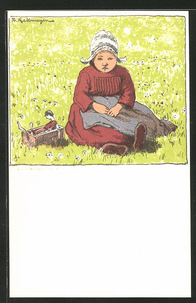 Künstler-AK Friedrich Kallmorgen: Kleinkind auf Wiese