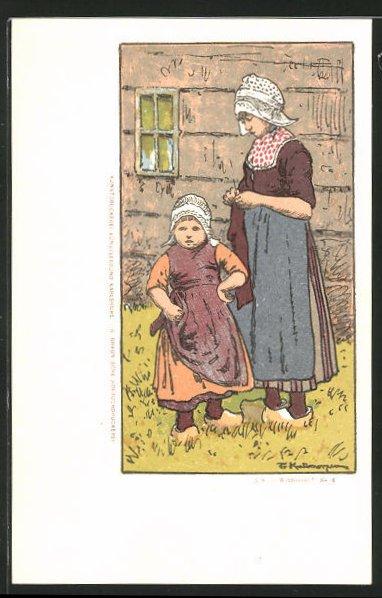 Künstler-AK Friedrich Kallmorgen: Maid und kleines Mädchen in Tracht