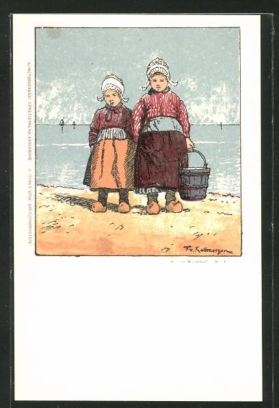 Künstler-AK Friedrich Kallmorgen: Zwei Mädchen am Meer