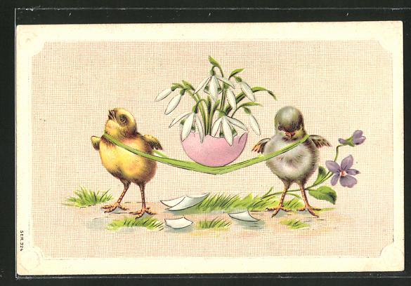 Präge-AK Schneeglöckchen im Ei werden von den Osterküken transportiert