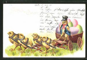 AK Osterküken als Kutscher mit Gerte auf dem Wagen mit Ostereiern