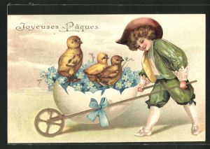Präge-Lithographie Junge mit Eier-Schubkarre und Osterküken,