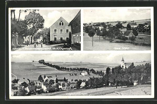 AK Voigtsdorf / Erzgebirge, Ortsansicht mit Kirche, Oberer Ortsteil, Geschäft von H. Clausnitzer