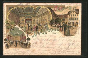 Lithographie Erfurt, Gasthaus Alten-Ratskeller mit Konzert Saal & Speise Saal