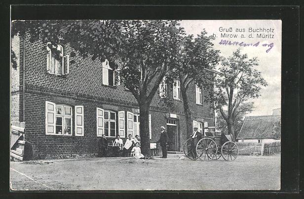 AK Buchholz / Müritz, Gasthaus, belebte Szenerie mit Kutsche