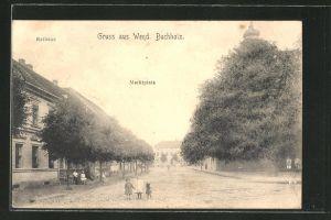 AK Wendisch Buchholz, Marktplatz mit Rathaus