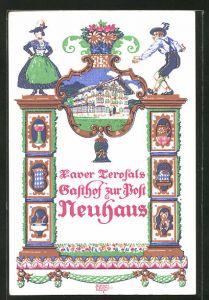 Künstler-AK Siegmund von Suchodolski: Neuhaus, Terofals Gasthof zur Post