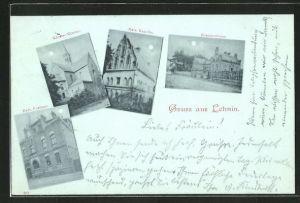 Mondschein-AK Lehnin, kaiserl. Postamt, Klosterkirche, kaiserl. Kapelle und Krankenhaus