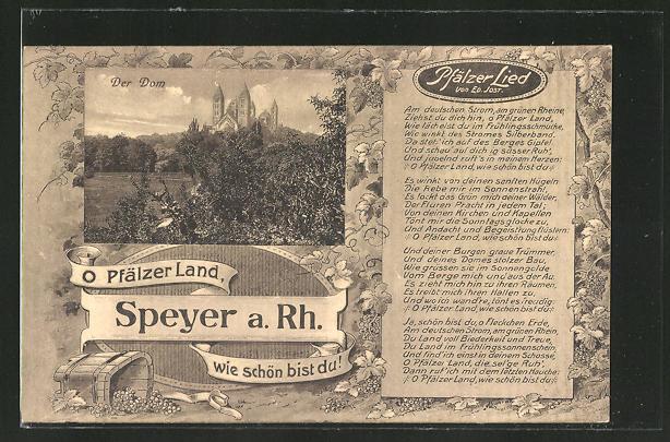 Ak Speyer Rhein Domansicht Und Pfälzer Lied In Textform
