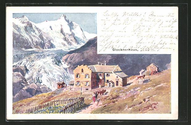 Künstler-AK Edward Theodore Compton: Glocknerhaus mit Gebirge