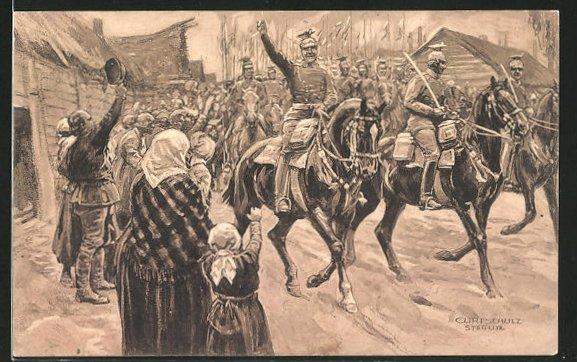Künstler-AK Curt Schulz-Steglitz: Unsere Ulanen besetzen Czenstochau, Der grosse Krieg 1914 /15