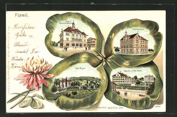 Passepartout-Lithographie Flawil, Post & Gemeindehaus, Villa Giger, Schulhaus, Fabrik & Villa Naef im Kleeblatt