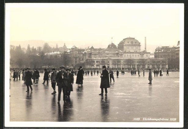 AK Zürich, Zürichseegefrörne 1929, Herrschaften auf dem Eis