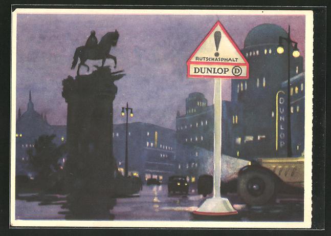 AK Dunlop Rutschasphalt, Reklame
