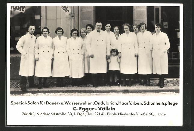 AK Zürich, C. Egger-Völkin, Friseur, Niederdorfstr. 30, Belegschaft