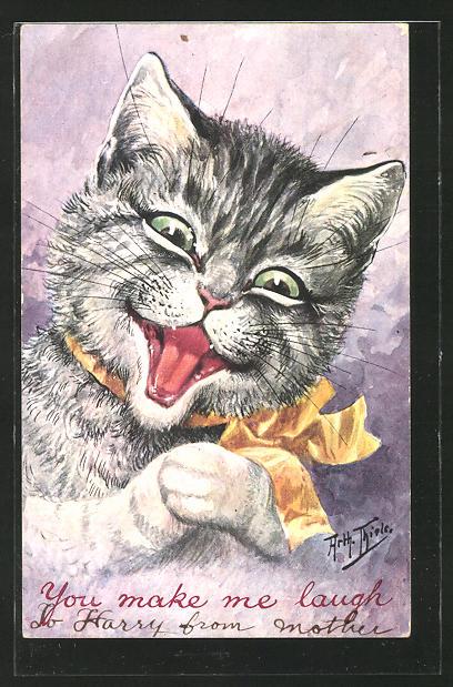 Künstler-AK Arthur Thiele: You make me laugh, menschliche Katze