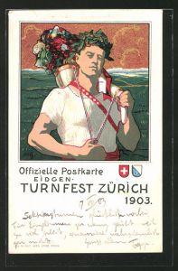 Lithographie Zürich, Eidgen. Turnfest 1903, patriotischer Turner