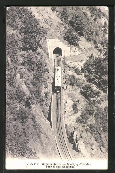 AK Chemin de fer de Martigny-Chatelard, Tunnel des Charbons, schweizer Eisenbahn