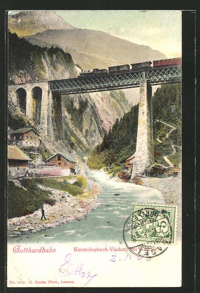 AK Gotthardbahn, Kerstelenbach-Viaduct bei Amsteg