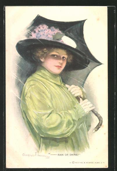 Künstler-AK Clarence F. Underwood: Rain or shine, Dame mit Regenschirm