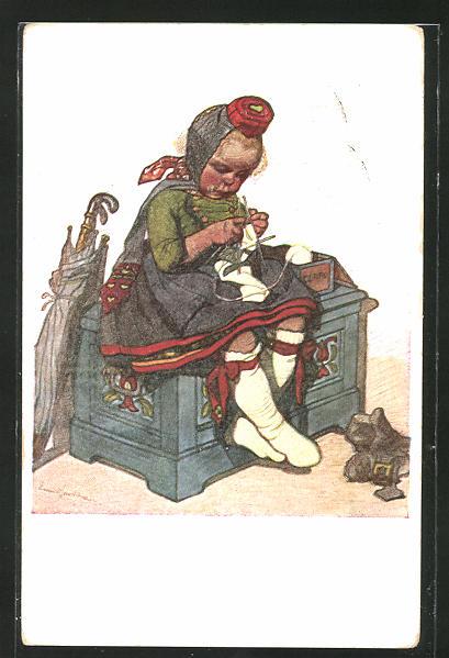 Künstler-AK Emil Beithan: Hessische Trachten, strickendes Mädchen