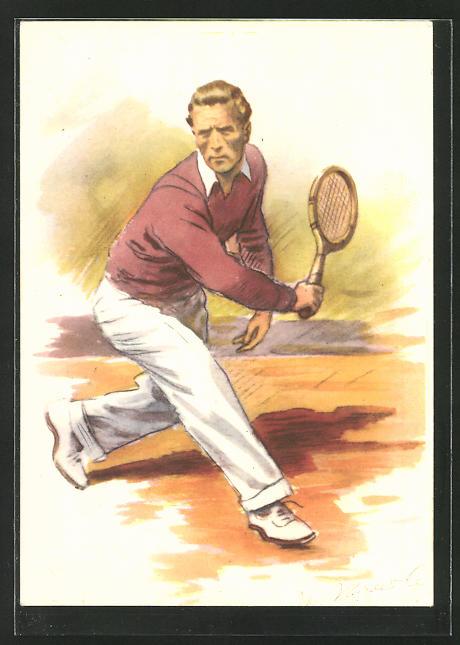 Künstler-AK Tennisspieler auf dem Platz