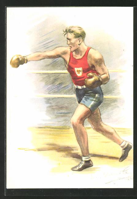 Künstler-AK Boxer im Ring