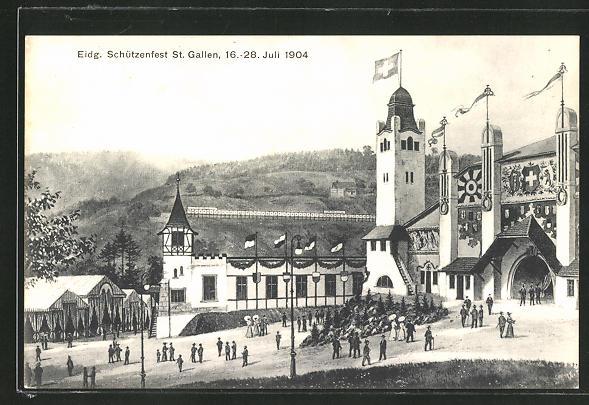 AK St. Gallen, Eidgen. Schützenfest, 16.-28. Juli 1904