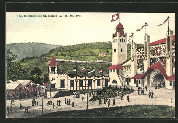 AK St. Gallen, Eidgen. Schützenfest 16.-28. Juli 1904
