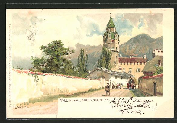 Künstler-Lithographie Edward Theodore Compton: Hall, der Münzerturm