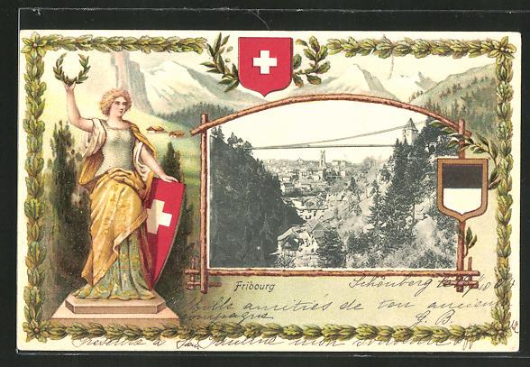 Passepartout-Lithographie Fribourg, Panoram, Wappen und Helvetia