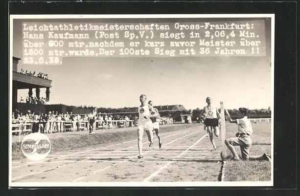 AK Frankfurt, Leichtathletikmeisterschaften Gross-Frankfurt 1935, Hans Kaufmann siegt über 500m