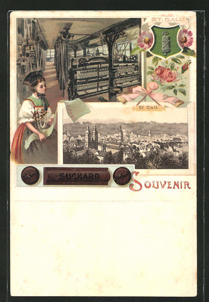 Lithographie St. Gallen, Suchard, Weberei