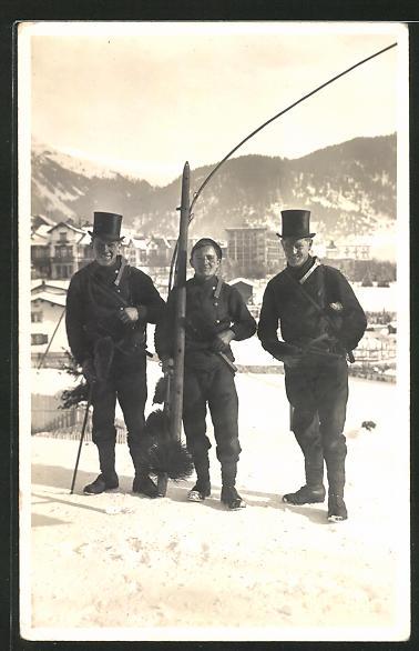 Lithographie Davos, drei Schornsteinfeger im Schnee
