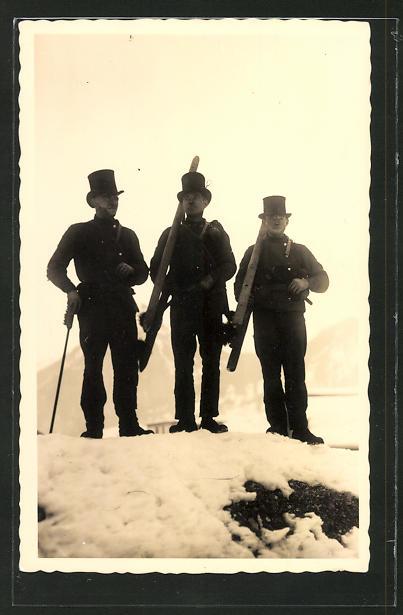Foto-AK Schornsteinfeger im Schnee
