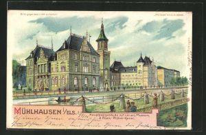Lithographie Mühlhausen, Hauptpostgebäude mit neuem Museum & Rhein-Rhône-Kanal, Halt gegen das Licht
