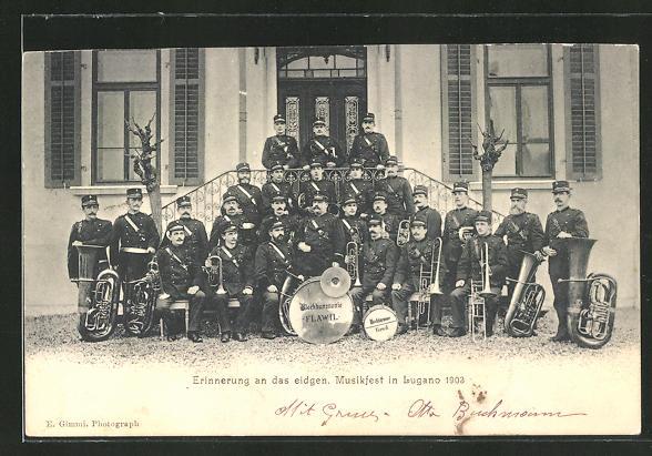 AK Lugano, eidgenössisches Musikfest 1903, Gruppenbild Musiker