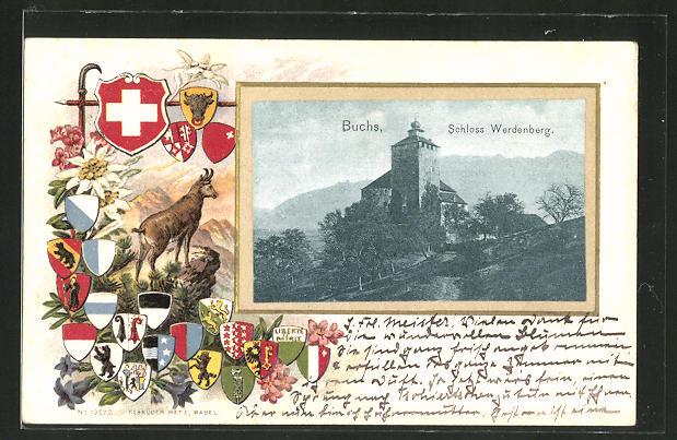 Passepartout-Lithographie Buchs, Blick zum Schloss Werdenberg