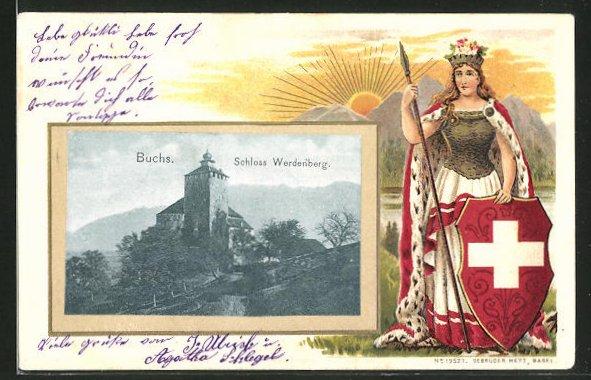 Passepartout-Lithographie Buchs, Ansicht des Schloss Werdenberg, Schweizerin mit Wappenschild und Lanze