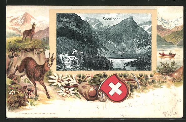 Passepartout-Lithographie Appenzell, Ortspartie mit Seealpsee, Gämsegruppe in den Alpen