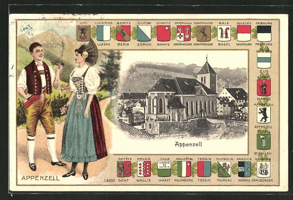 Passepartout-Lithographie Appenzell, Partie an der Kirche, Schweizer Pärchen in Tracht