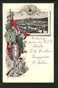 AK St. Gallen, Eidgenössisches Schützenfest 1904, Ortsansicht aus der Vogelschau, Fahne und Siegerpokal