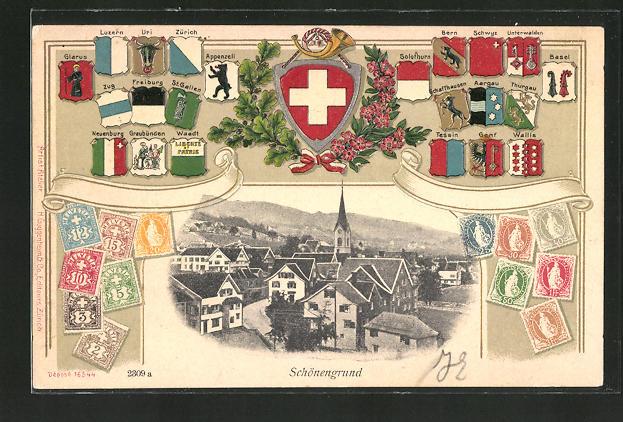 Passepartout-Lithographie Schönengrund, Ortspartie mit Kirche, Wappen