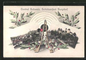 AK Burgdorf, Central Schweiz. Schützenfest, Ortsansicht, Gewehre mit Zielscheibe